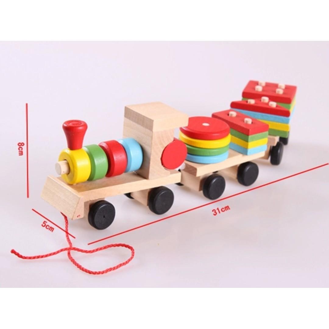 (Ready Stock)SN022 - Wooden Montessori Geometry Shape Intelligence Train - Motor Skills Educational Toy