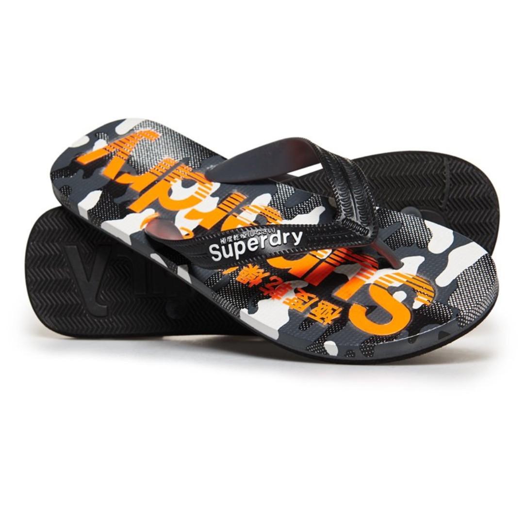4d03178c3 Superdry flip flop slippers in Black hazard Orange textured Camo ...