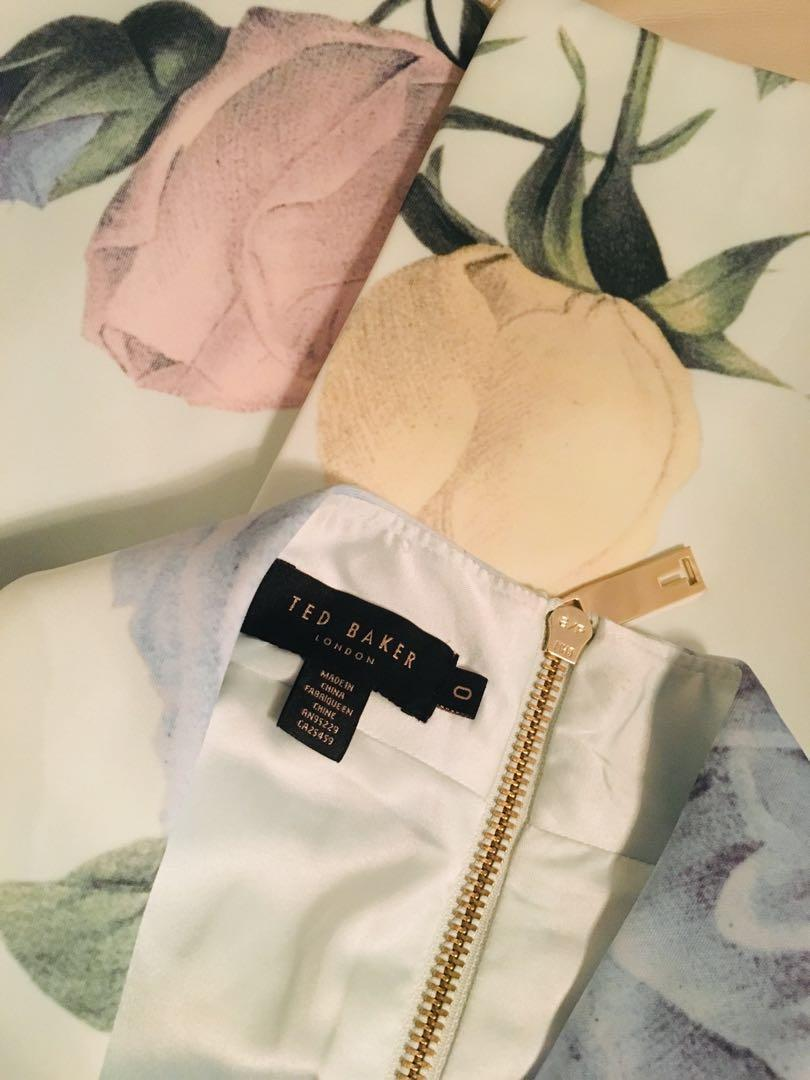 TED BAKER floral pencil dress size 0 XS but fits 00 XXS