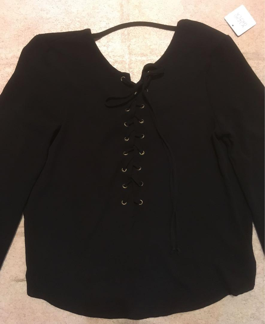 UK2LA Black Blouse Lace Up Low Back New with Tags Size Medium