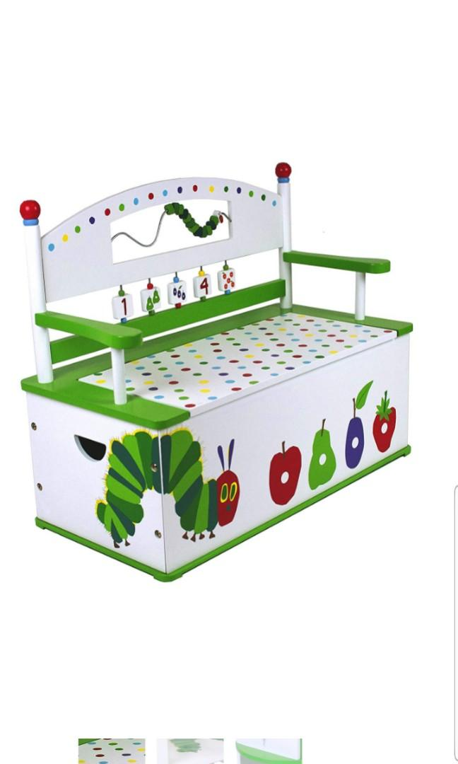 Very Hungry Caterpillar Wildkin Wooden Toy Box Bench Toy Chest Toy