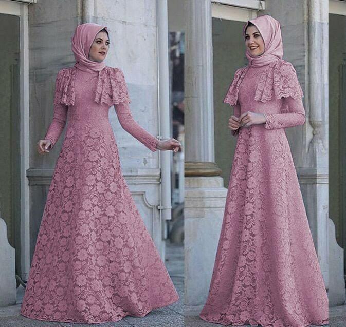 Vs Mx Minerva Dusty L Atasan Fashion Baju Muslim Gamis Brukat Maxy Gamis Brokat Wanita Fesyen Wanita Muslim Fashion Gaun Di Carousell
