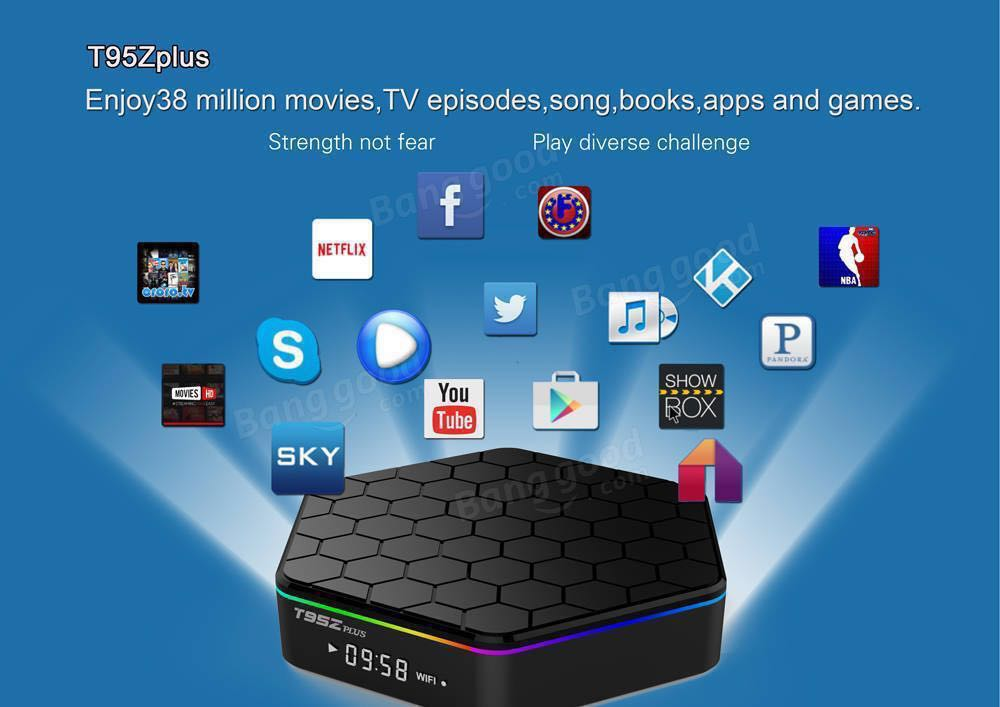YAGALA T95Z plus 3Gb Ram/32Gb Rom Android 7 1 Amlogic S912 Smart Tv Box  Octa Core 4K Resolution Dual Band Wi-Fi 2 4Ghz/5Ghz