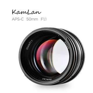 Kamlan 50mm f1.1 超大光圈人像鏡頭 NEX M4/3 M43 FX EOSM EOS-M 接口 無反微單相機專用 f1.8 Sony Panasonic Olymplus Fujifilm Canon