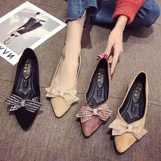 🚚 Bow rhinestone flat with wedding shoes pointed stiletto suede single shoes Korean version of the net red bean shoes