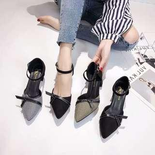 🚚 Pointed sandals shallow mouth stiletto plaid sexy high-heeled girl single shoes