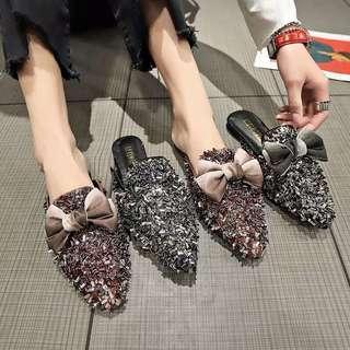 🚚 Square head rhinestone shallow mouth bow flat shoes fashion peas shoes