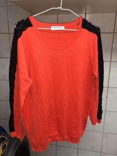 🚚 歐薇 橘色 蕾絲袖 長袖 XL