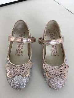 Gold glitter butterfly princess shoes from England