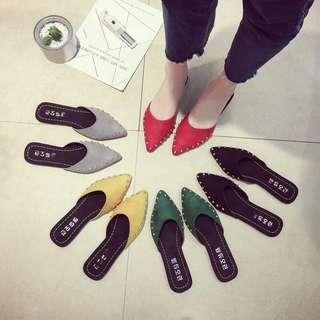 🚚 Sandals and slippers European station flat rivet pointed toe cap half slippers Mules shoes