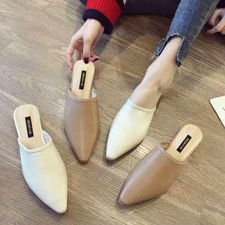 🚚 Sandals and slippers women wear 2019 spring new Korean version of the wild pointed thick with half slippers baotou net red Mules shoes