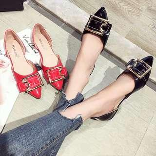 🚚 Wild Korean chic shallow mouth pointed flat shoes fashion square buckle soft bottom scoop shoes