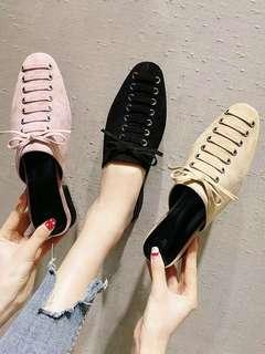 🚚 Net red slippers women's new Korean version of the wild with a thick with a half towed head fashion Muller shoes