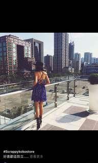 Scrappy koko store 藍色襯膚簍空蕾絲及膝洋裝