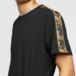 ZARA Black TShirt With Camo Camouflage Taping on Shoulder