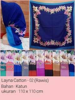 Hijab rawis Segiemat motif bunga  02