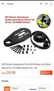 DIY electronic skateboard parts kit pulley and motor mount, USED AND ACTUAL PIC IN FOLLOWING PICTURES