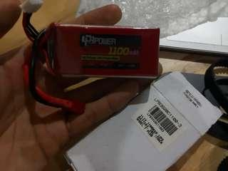 11.1V 1100MAH LIPO Battery, 20C T Plug with adapter