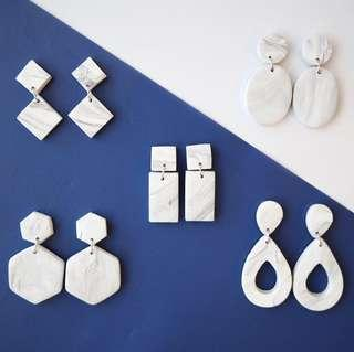 🚚 White Marble - Handcrafted Clay Earrings by thecuriousmakers