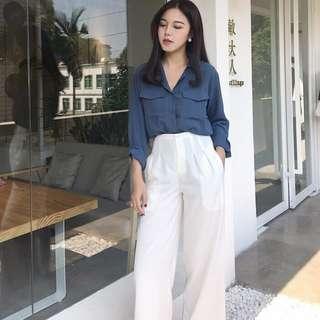 🚚 復古藍口袋襯衫