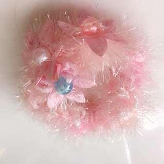 彈力髮帶 束帶 粉紅花