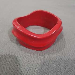 Red Wide Bangle Bracelet
