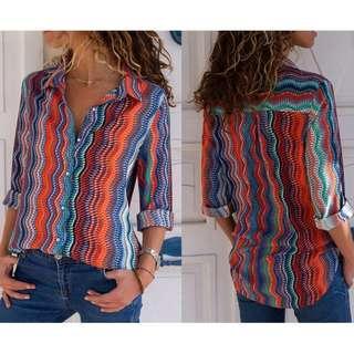 Women Blouses Fashion Long Sleeve Turn Down Collar Office Shirt Chiffon Blouse Shirt Casual Tops