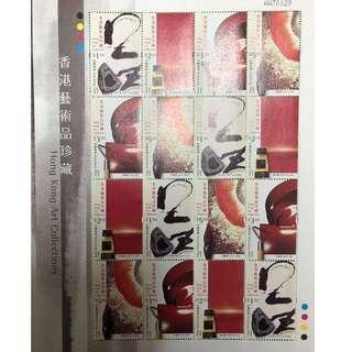 2002 香港藝術品珍藏 版票+已蓋銷首日封連四枚郵票