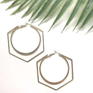 🚚 ❣️[premium] cute hex circle gold hoop earrings
