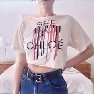 See by Chloe White crop T-shirt