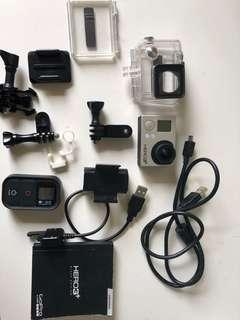 Go pro hero 3+ with accessories and stands