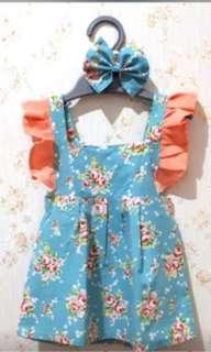 Flower dress+headband