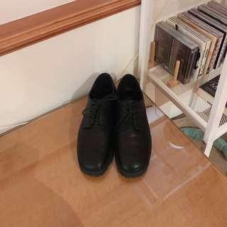 韓國帶回 正韓微方頭皮鞋-黑 (有實穿)