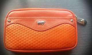 🚚 Orange Leather coin Pouch with card holder