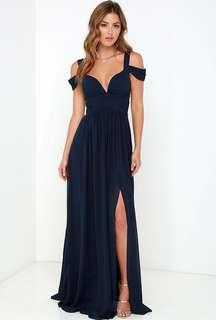 LULU NAVY PROM DRESS/ GOWN OFF THR SHOULDER WITH SLIT