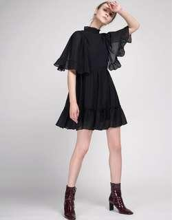 Black Pleated Shift Dress with Gathered Hem