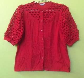 L size UK12 Red blouse top