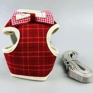 🚚 寵物牽繩胸背-紅色格紋(可調節)