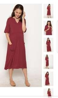 BNWT JEC Clio Zipped Down Nursing Dress in Red
