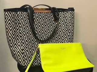 Authentic TED BAKER Tote Bag with Neon Yellow Wristlet
