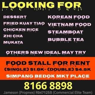 Food stall for rent ATTRACTIVE PRICE.