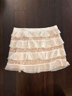 Lace ruffle miniskirt
