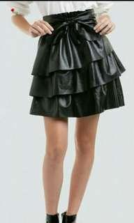 Leather Skirt / Ruffled Leather skirt