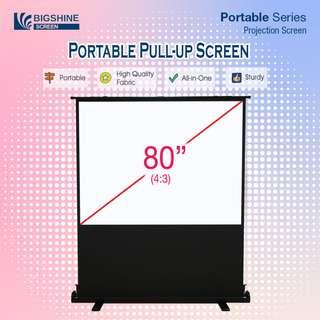 80 Inch (4:3) Portable Pull-up Projector Screen [BIGSHINE]