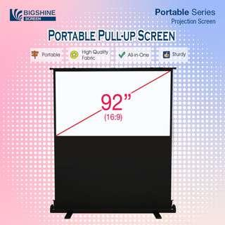 "[BIGSHINE] 92"" 16:9 Portable Pull Up Projector Screen"