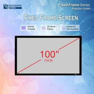 "[BIGSHINE] 100"" (16:9) Cine65 3D Silver Fixed Frame Projector Screen"