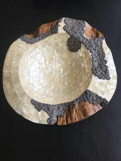 Mother of Pearl on Coconut Shell Display Bowl