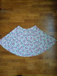 Preloved flora pink blue skater skirt