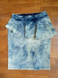 BN soft denim frilled pencil stretchableskirt