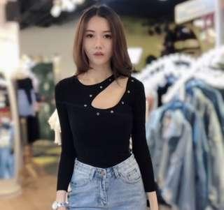 Janie Cut Out Knit Top (Black)